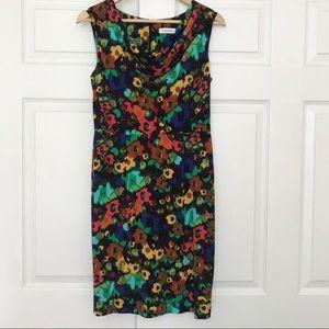 Calvin Klein colorful floral dress w cowl neck